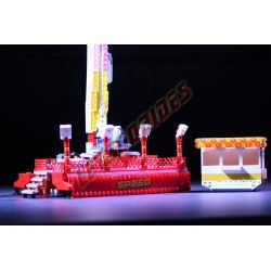 """LetsGoRides - Speed, Accueil, Motorized reproduction of the fairground attraction """"Speed"""" (KMG) made with Lego bricks. Foldable"""