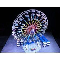 "LetsGoRides - Ferris Wheel, Motorized reproduction of the fairground attraction ""Ferris Wheel"" made with Lego bricks. Foldable o"