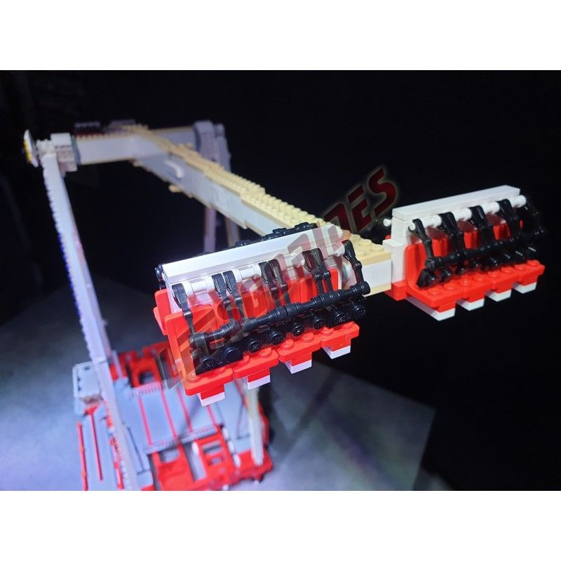 """LetsGoRides - Speed32, Motorized reproduction of the """"Speed32"""" (KMG) fairground attraction in Lego. Transportable on 4 trailers"""